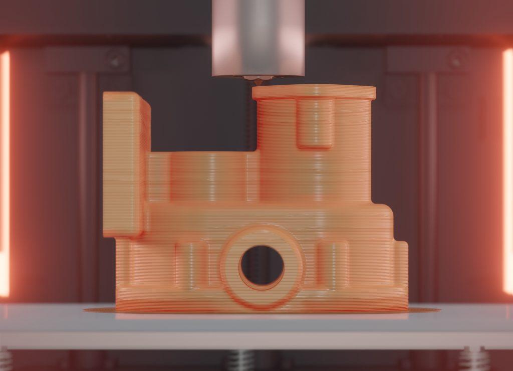 3D Druck eines PEEK Bauteils in einem beheiztem Bauraum